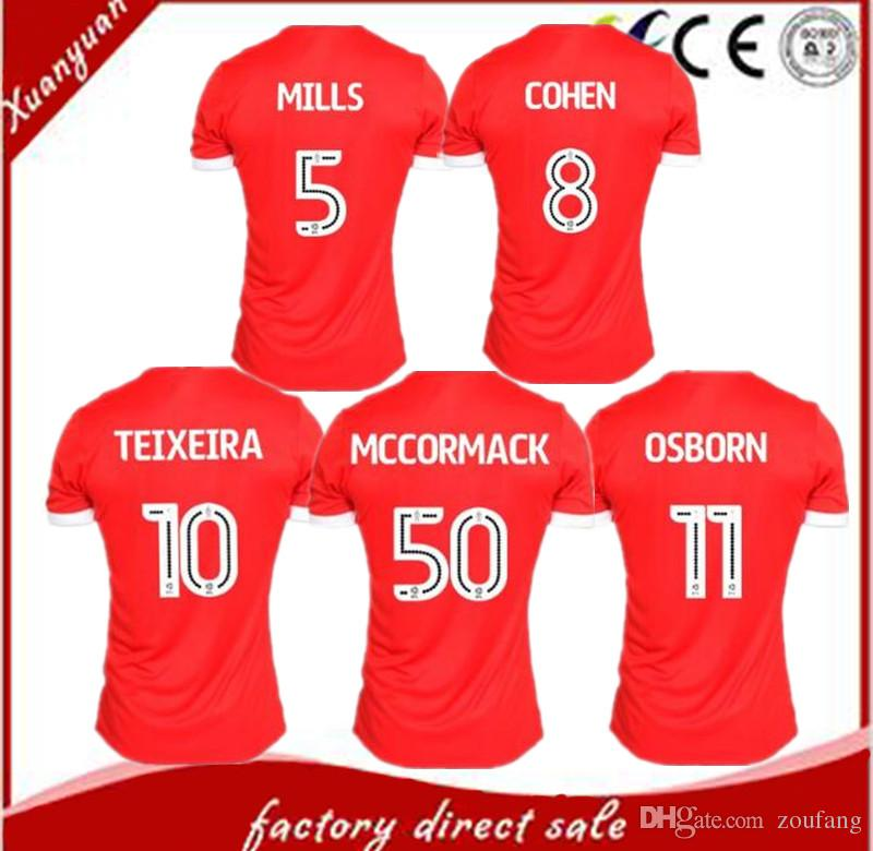 c64694c743b 2019 2018 Nottingham Forest Home Red Soccer Jersey 17/18 Nottingham Forest  Soccer Shirt Customized TEIXEIRA OSBORN FRYATT Football Uniform Sales From  ...
