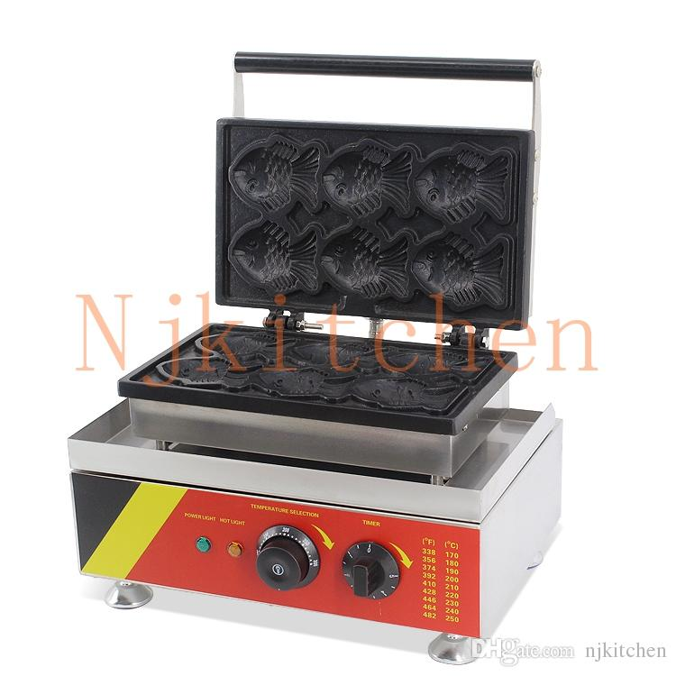 Uso commerciale libero di trasporto 110v 220v elettrico giapponese Taiyaki pesce Waffle Maker ferro Baker Machine Mold Plate
