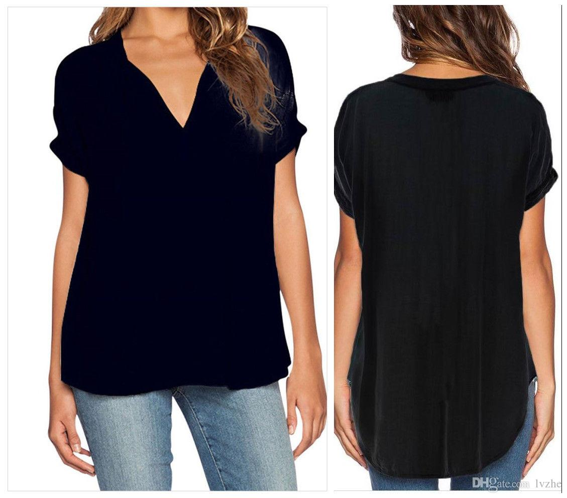2017 New Sexy Womens Ladies Short Sleeve V-Neck Irregular Loose T-Shirt Tops Blouse Plus Size