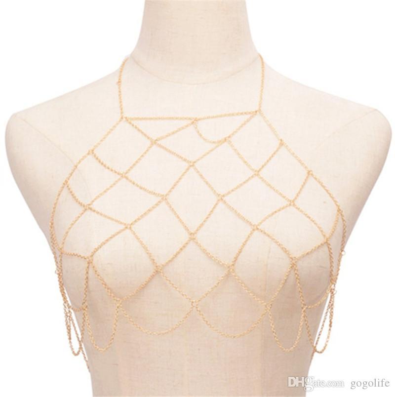Bikini sexy della pancia della vita della catena della lega di metallo Bra catena corpo gioielli griglia della nappa della collana del corpo Harness Boho della spiaggia di modo di colore dell'oro di Net