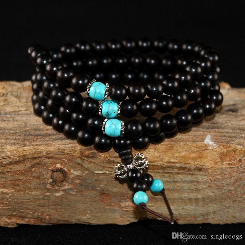 108*8mm Natural Sandalwood Buddhist Buddha Meditation 108 Beads Wood Prayer Bead Mala Bracelet Gift For Father Mother Women Men Jewelry
