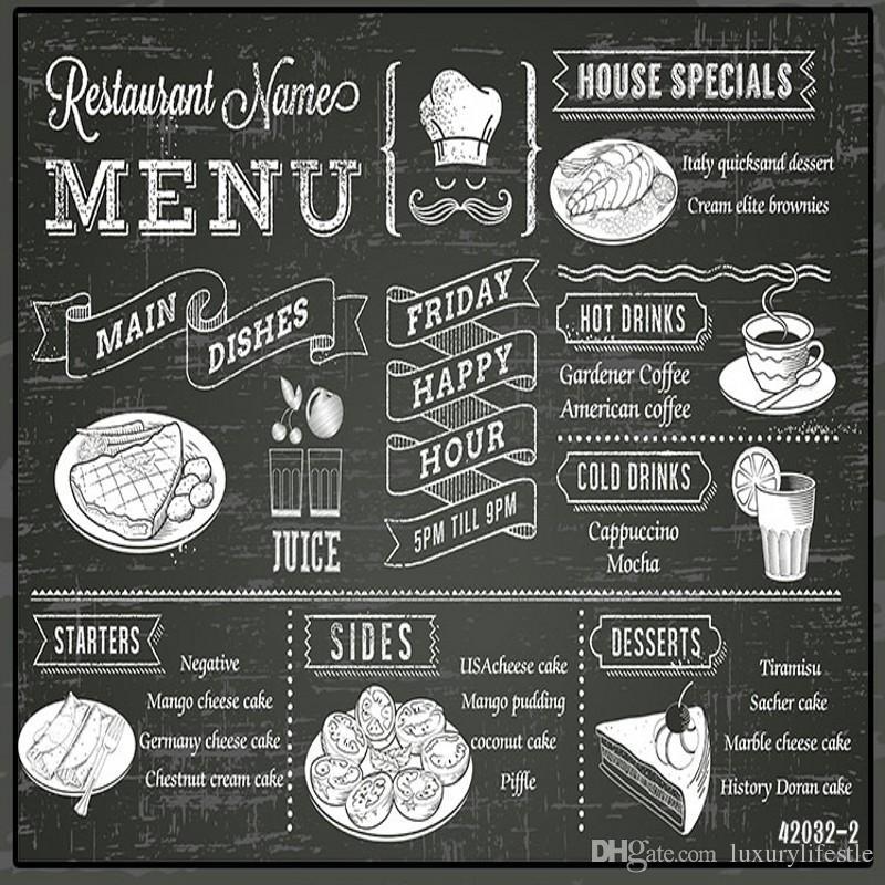 Blackboard Wallpaper Murals Food Wallpaper Murals Bistro: 3D Stereo Custom Desert Food Wallpaper Blackboard Pizza