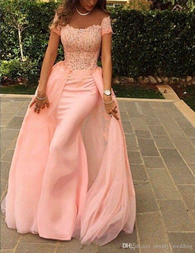 Elegante Zuhair Murad Vestido de noche largo con sirena 2016 Cap manga de encaje Top Longitud del piso Estilo árabe Rosa Vestidos de fiesta de graduación Por encargo