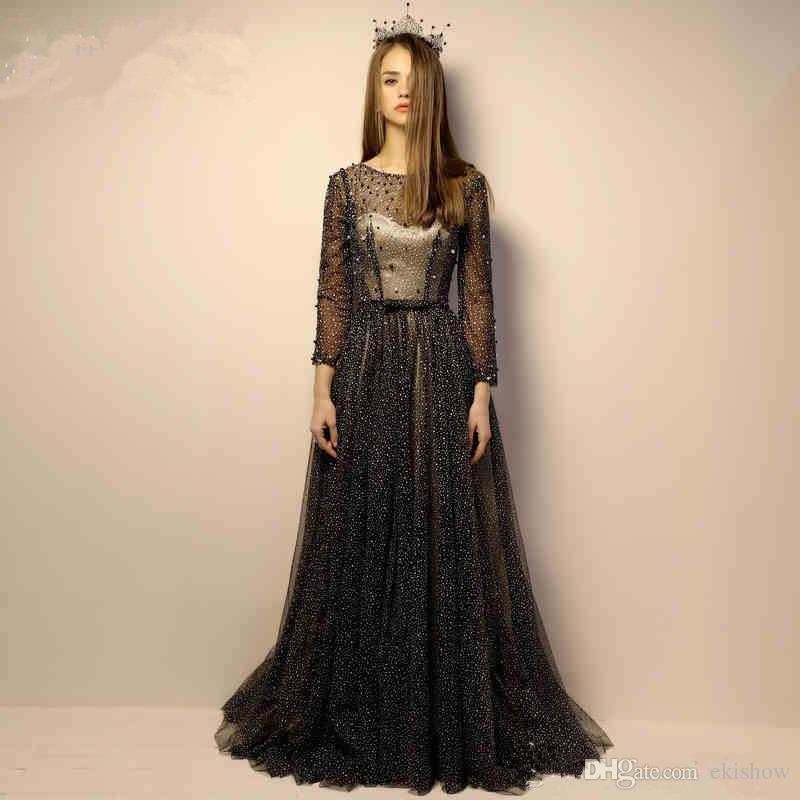 2017 New Elegant Black Light Evening Dresses Dot Tulle Pearls Beading Floor Length Back Lace up Long Sleeves Party Prom Gowns Custom Made