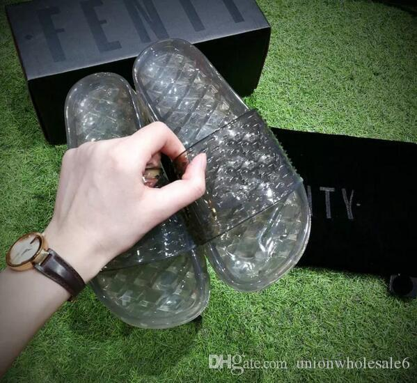 Double Box Summer 2017 Fenty Jelly Slides Womens Slide Sandals Black White  Pink Fenty By Rihanna Collection Shoes Wholesale Drop Shipping Boots For  Women ... 4b9255b8e