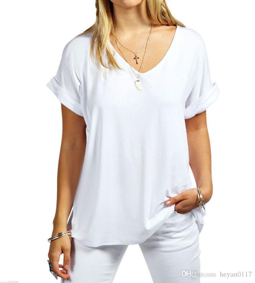 937b479b75160d Großhandel Frauen Damen Baggy Loose Fit V Ausschnitt Turn Up Kurzarm Top T  Shirts Baumwolle Reine Farbe Kurzes T Shirt Von Heyan0117