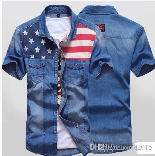 Shirt New Design | Wholesale Shirts For Men Summer New Denim Shirt Double Pocket