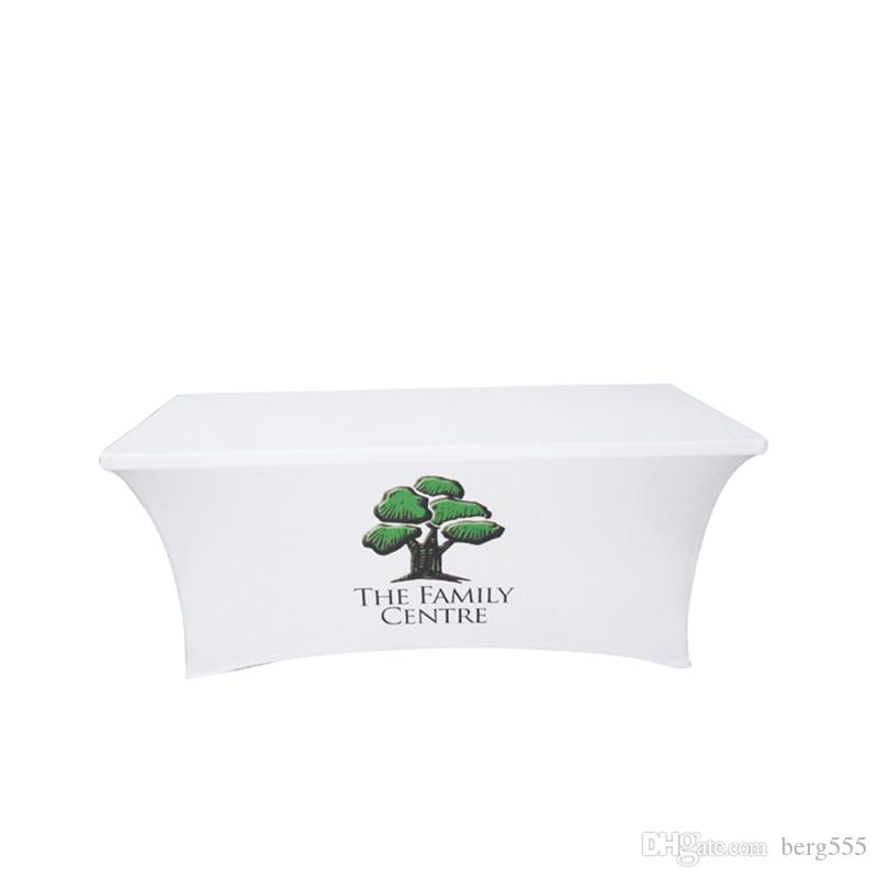 6ft Stretch Fabric Table Cover Fits 6ft Table Printed Full Color Dye Sublimation, Custom Elasticity Tablecloth