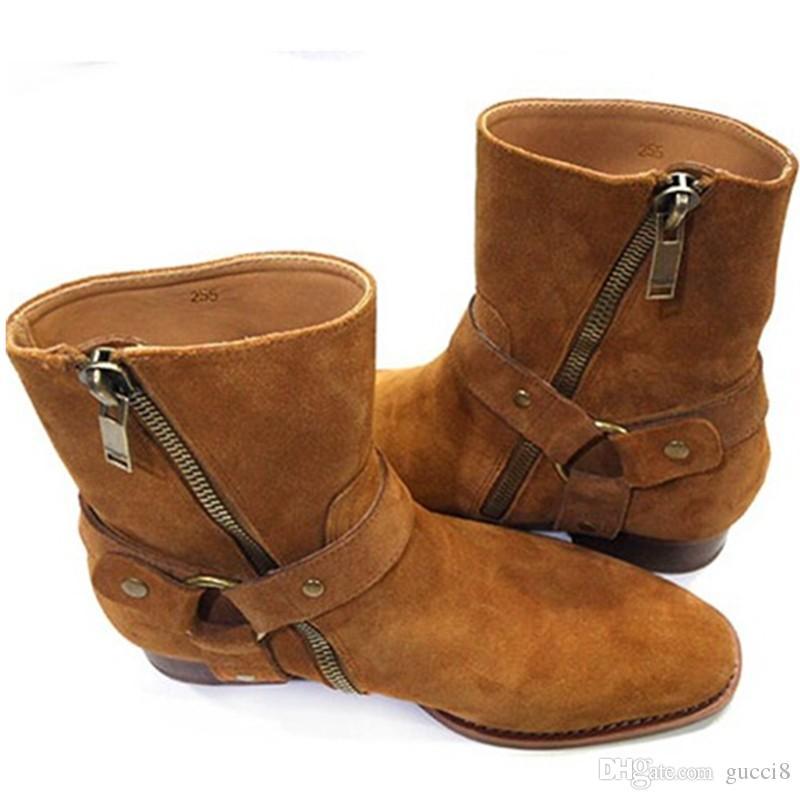 Mode Wyatt Biker Ketten Ankle Boots Herren Schuhe Spitz Schnalle Männer Stiefel Braun Leder Herren Kleid Schuhe Botas Militares Schuhe Männer