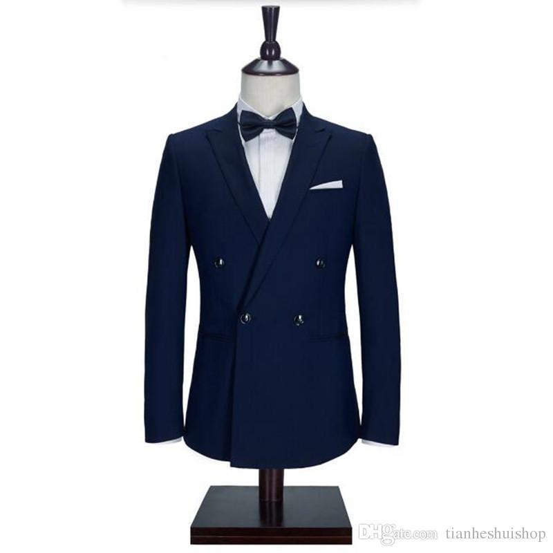 Navy Blue Men Suits Jacket Stylish Handmade Groom Wedding Tuxedos