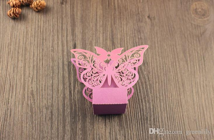 Candy Boxes Hollow Candy Boxes Gift CasesFavor Holders Wedding Boxes Butterfly Wedding Favor Pearlescent Paper European Creative Design