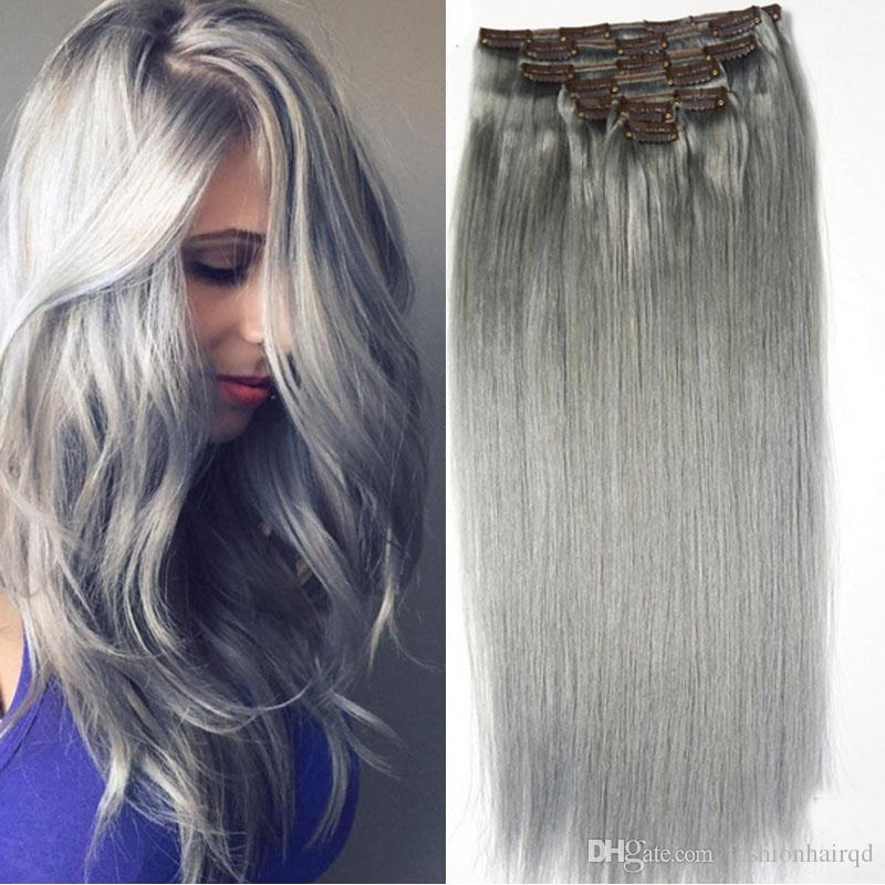 Pure Grey Clip In Human Hair Extensions 70g Set Silver Cheap Indian