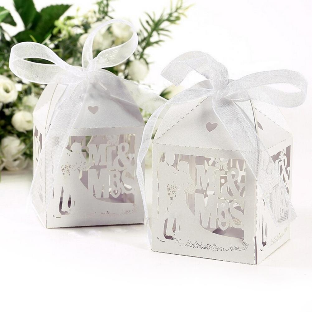Event Party Supplies White Candy Paper Party Box Mr&Mrs Married ...