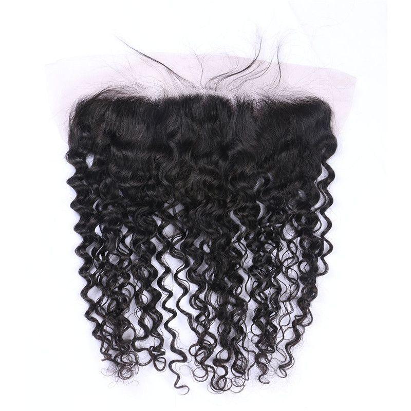 Derin Dalga İnsan Saç Paketler Malezya Kıvırcık Saç Dantel Frontal Kapatma Ile 13 * 4 inç Ücretsiz Orta Üç Bölüm LaurieJ Saç