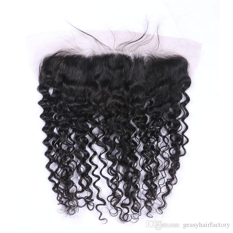 Vague Profonde Bundles De Cheveux Humains Avec Des Cheveux Bouclés Malaisien Dentelle Frontale Fermeture 13 * 4inch Libre Trois Trois Partie LaurieJ Cheveux