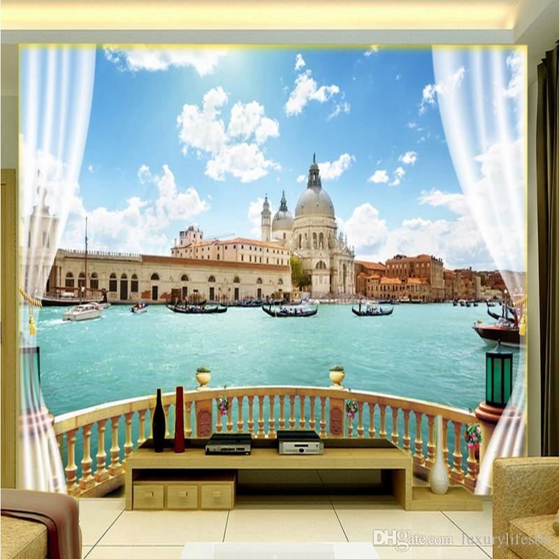 3d stereo custom sea view sightseeing balcony tv backdrop for Balcony view wallpaper