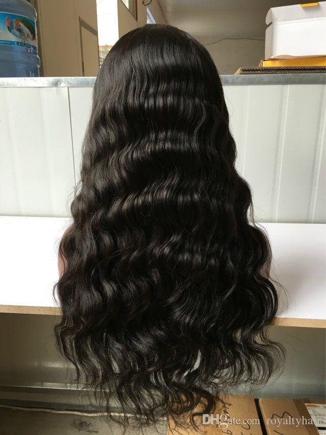 Onda natural del frente del cordón peruano Pelucas de cabello humano ondulado completo pelucas de cabello humano con el pelo del bebé para las mujeres negras