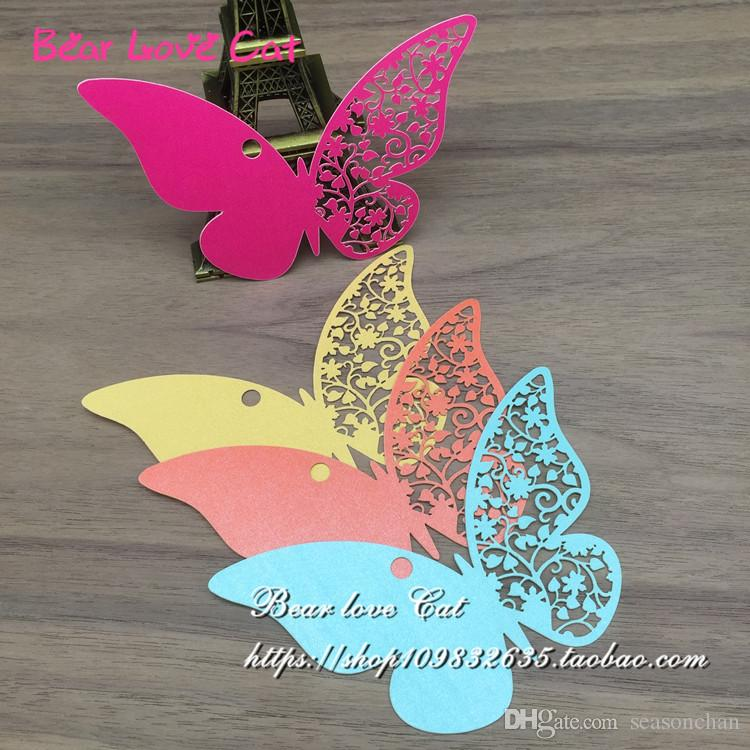 DIY Message Cards Laser Cut Name Place Card Paper Card Table Mark Hang Tag Card Wedding Favors Party Decoration butterfly Book Mark