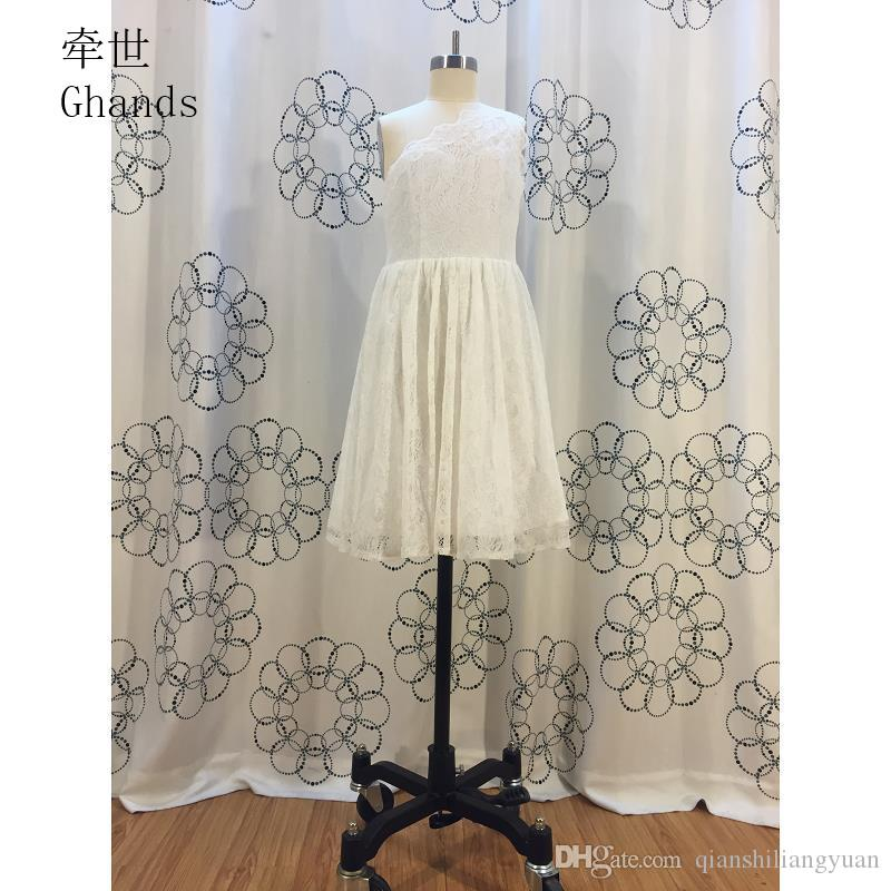 Ghands New Cheap JJShouse Lace One-Shoulder A-Line Natural Knee-length Elegant Junior Bridesmaid Dresses Custom Size/Color