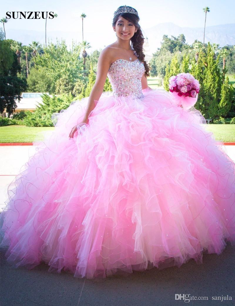 0460ec631141 Acquista Abiti Quinceanera Rosa Ball Gown Sweetheart Abiti Da 15 Anos De  Princesa Ruffles Puffy Skirt Glitter Beaded Prom Dress Abiti A  211.06 Dal  Sanjula ...