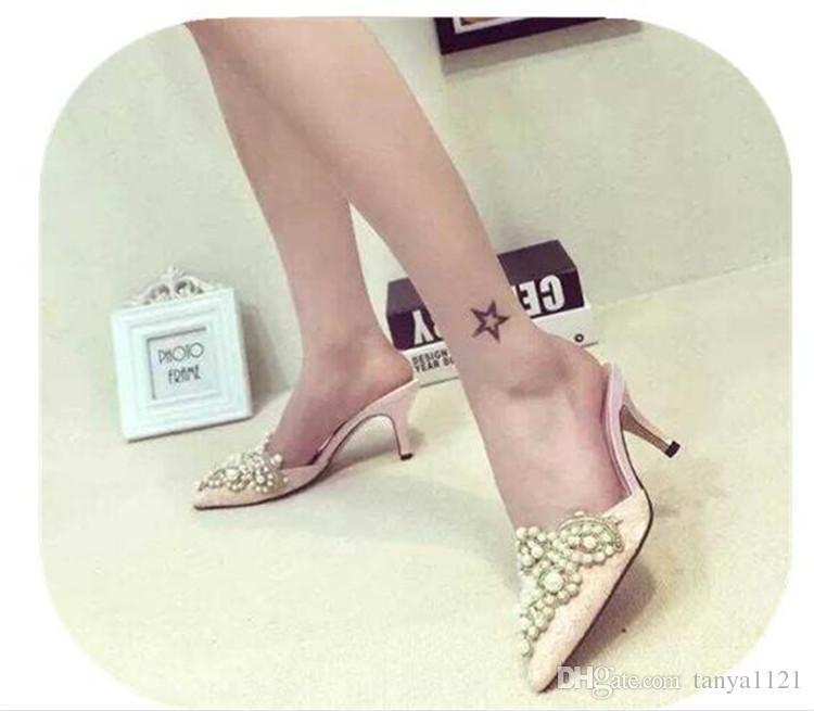 Moda Ziyafet Düğün Bayan Zarif Ayakkabı PointedToes Ayakkabı Yaz Sandalet Parti Balo Yüksek Topuklu Ayakkabı Inci Kristal Dantel Topuk 8 cm