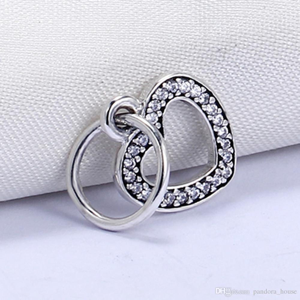 VRAI 925 STERLING STRICKING non plaqué Love Coeur Pendentif Charme Charms européennes Fit Pandora Snake Chain Chaîne Bracelet DIY Bijoux