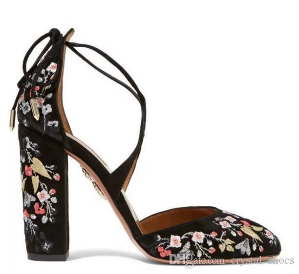 Designer Black Floral Printing High Heels Shoes Woman New Lace Up Zapatos Mujer Tacon Sexy Women Sandals Chunky Heel Women Pumps