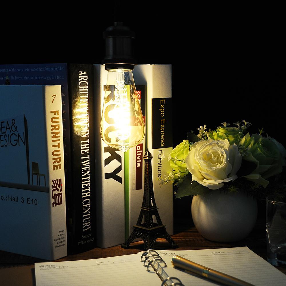 Dimmable 2200K AC110-220V ST64 / G25 / A19 Lampe à spirale Vintage Flexible / Ampoule à incandescence à LED - Ampoule LED 4W équivalent à 40W Edison