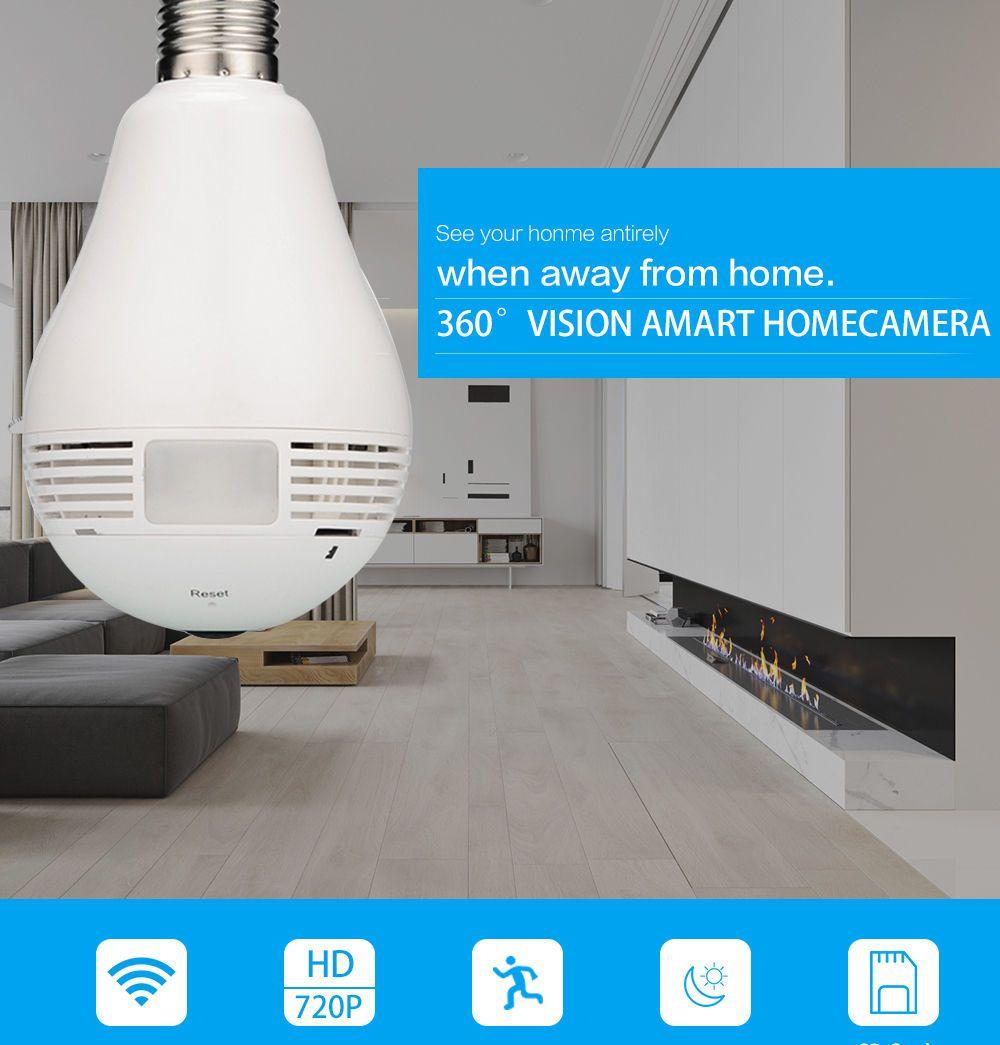 2019 360 Degree Mini Panoramic Camera 720p Hd Wifi Hidden Spy Camera Light Bulb Led Lamp Security Video Recorder Home Security Camera Ip Cam E27