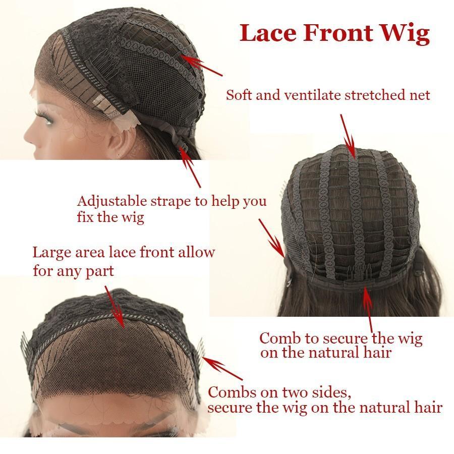 180% Density 26 Pulgadas Natural Black Body Wave Glueless peluca sintética del frente del cordón con pelo del bebé pelucas de pelo a prueba de calor para mujeres negras