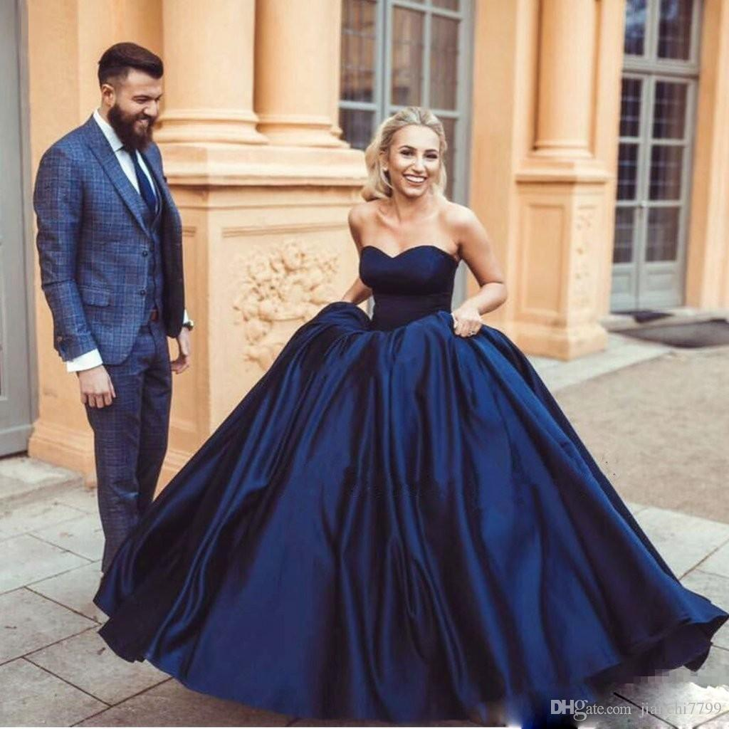 Classic Navy Prom Dresses Sweetheart Satin Simple Ball Gown Prom ...