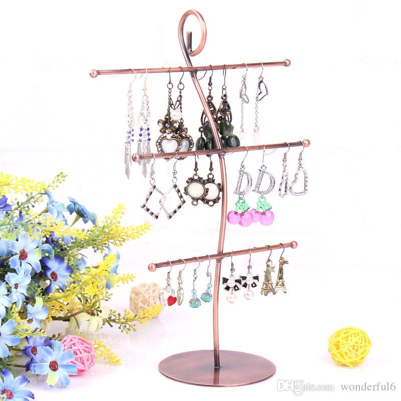 High Quality 3 Layers Earring Stand Ear Stud Holder Jewelry Pendants Display Necklace Shelf Jewelry Organizer Showcase Decoration