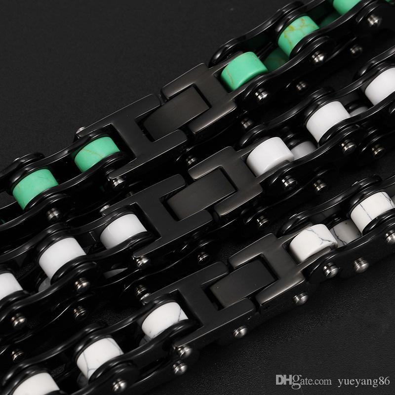 Fantastico Fantasia Regali di gioielli unisex Ceramica Acciaio inossidabile Nuovo design Bicicletta Moto Catena Bracciale Bracciale Uomo