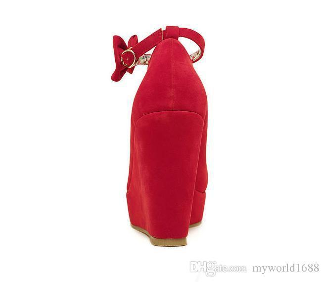 черный боути платарформ клинья женские красные лодыжки ремень на высоком каблуке свадебные туфли 2 цвета размер от 35 до 39