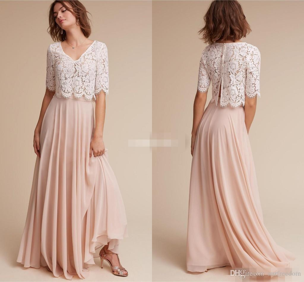 Lace chiffon bridesmaid dresses 2017 cheap under 100 with half lace chiffon bridesmaid dresses 2017 cheap under 100 with half sleeves v neck ivory lace blush chiffon long junior formal dress bridesmaid dress designs ombrellifo Choice Image