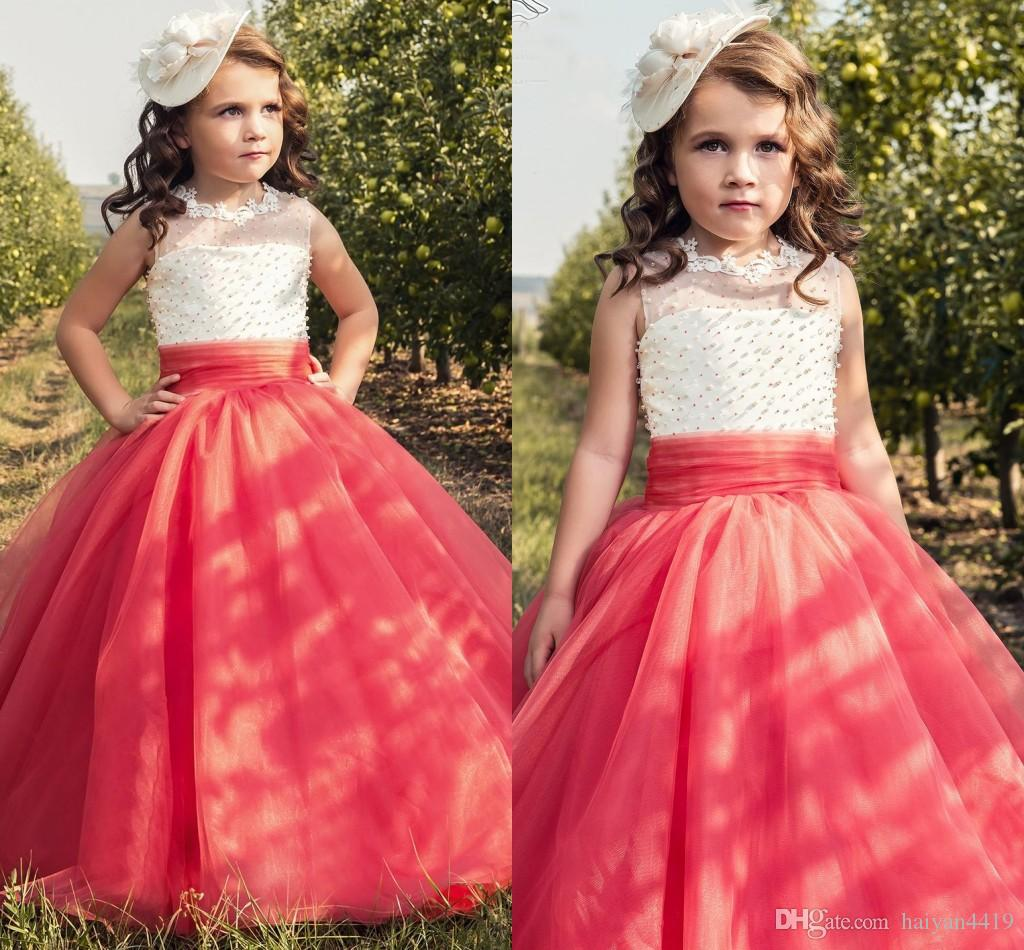 New 2017 Cute Girls Pageant Dresses Coral Champagne Lace Appliques