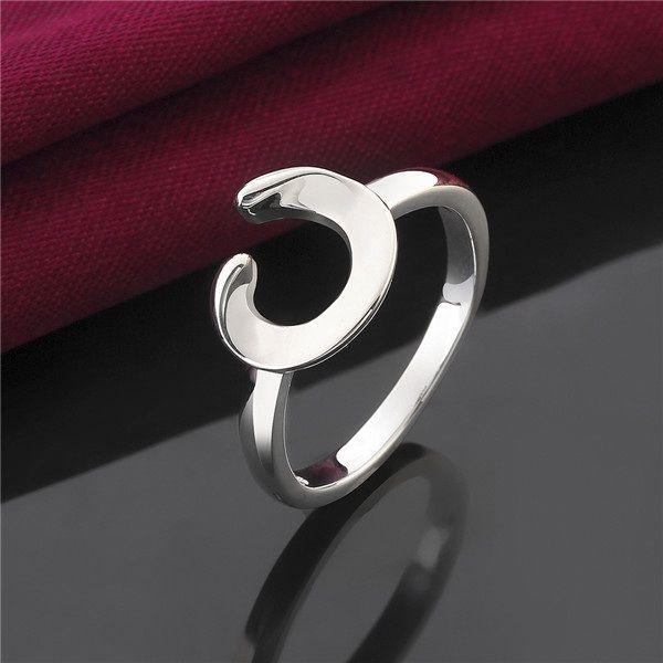лучший подарок гладкая половина изгиб стерлингового серебра ювелирные изделия кольцо SR522, новый 925 серебряный палец кольца группа кольца