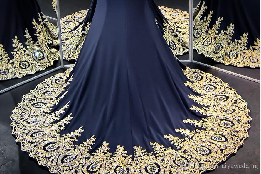 Seksi Mermaid Gelinlik Modelleri Altın Dantel Kristaller Boncuklu Sheer Illusion En İki Adet Abiye Örgün Törenlerinde Lüks 2019 Gerçek Fotoğraflar Ucuz