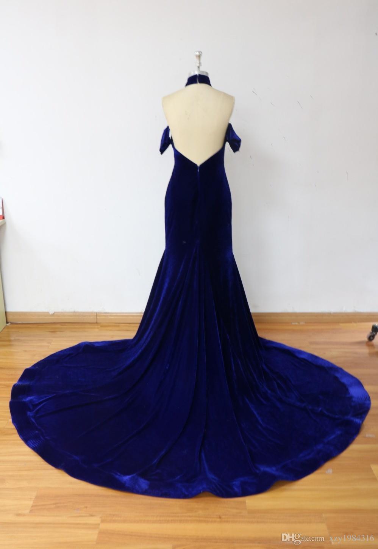 Gorgeous Mermaid Backless Evening Dress For Baby Mother Halter Neck Short Sleeves Velvet Formal Prom Dress 2017 New Custom Made Party Gowns