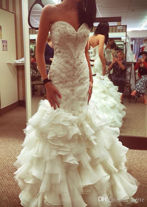 Real Buyer Show Luxury Crystal Ruffles Mermaid Wedding Dresses 2018 Sweetheart Full Beaded Fishtail Garden Church sottero Wedding Gown