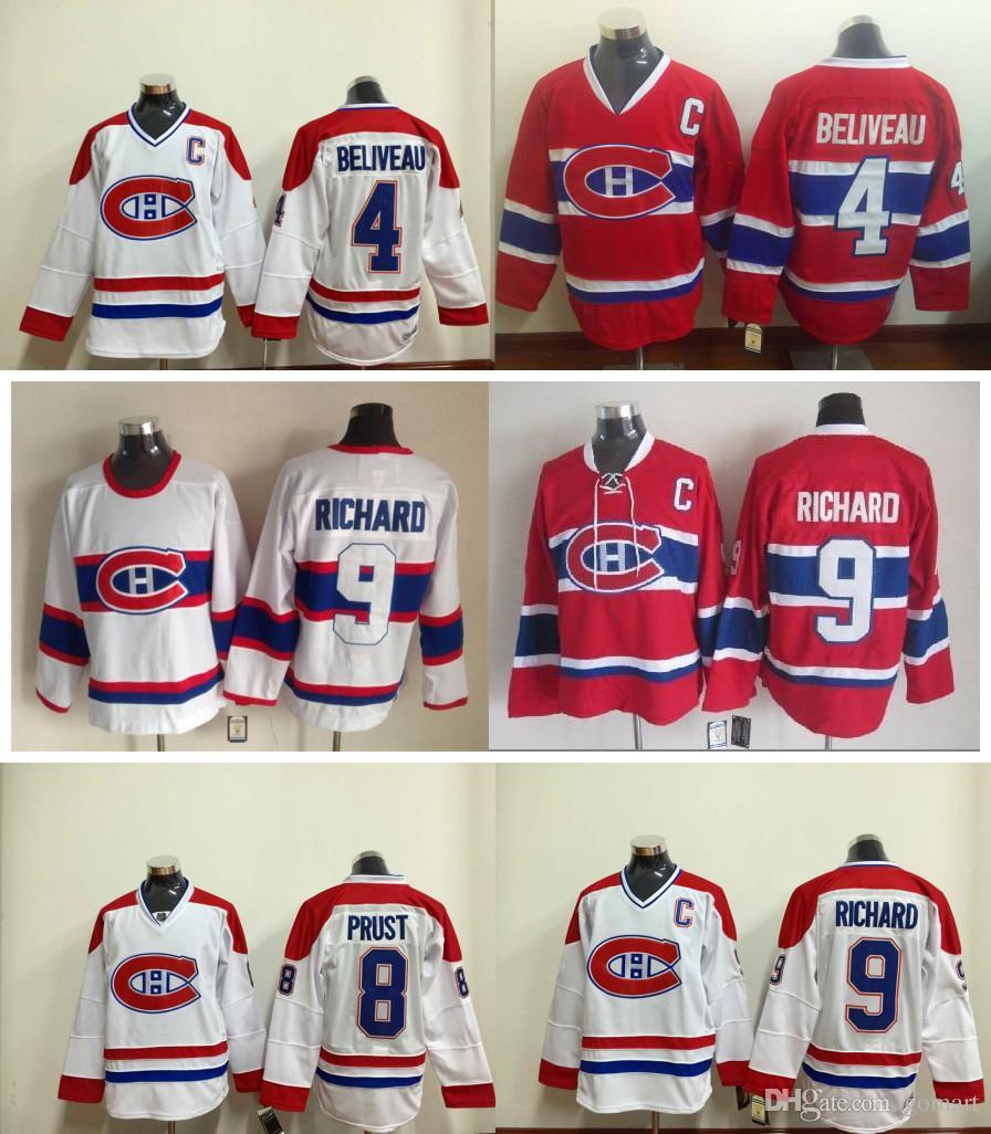 38d0225e9b9 ... 2017 Montreal Canadiens 4 Jean Beliveau Jersey Ice Hockey 8 Brandon  Prust Jerseys 9 Maurice Richard ...