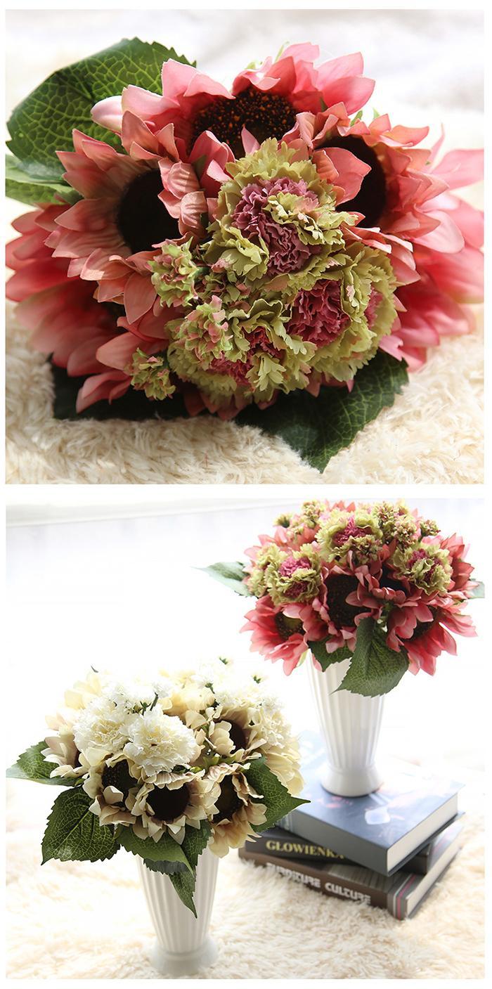 Artificiale pittura a olio Colore girasole Mazzo all'ingrosso opzione ciondoli girasoli artificiali assestamento set o decorazione di mazzi di nozze