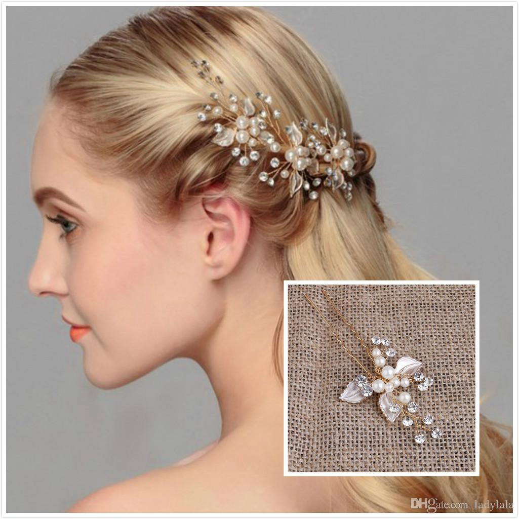 wholesale exquisite wedding hair jewelry pearls u pins bridal head
