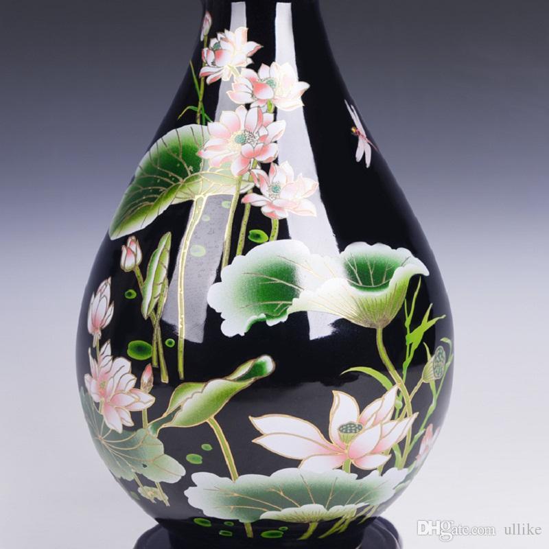 Unique Vase Jingdezhen Ceramic Vase Mirror Black Glaze With Lotus Pattern Famille-Rose Porcelain Vase Gift or Decoration for Home or Room