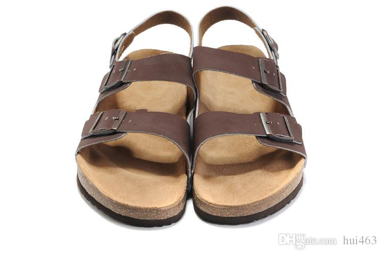 43c1f972cd6e97 New Famous Brand Arizona Men S Flat Sandals Women Casual Shoes Male Three  Buckle Heeled Summer Beach Top Quality Genuine Leather Slippers Sandles  Wedge ...
