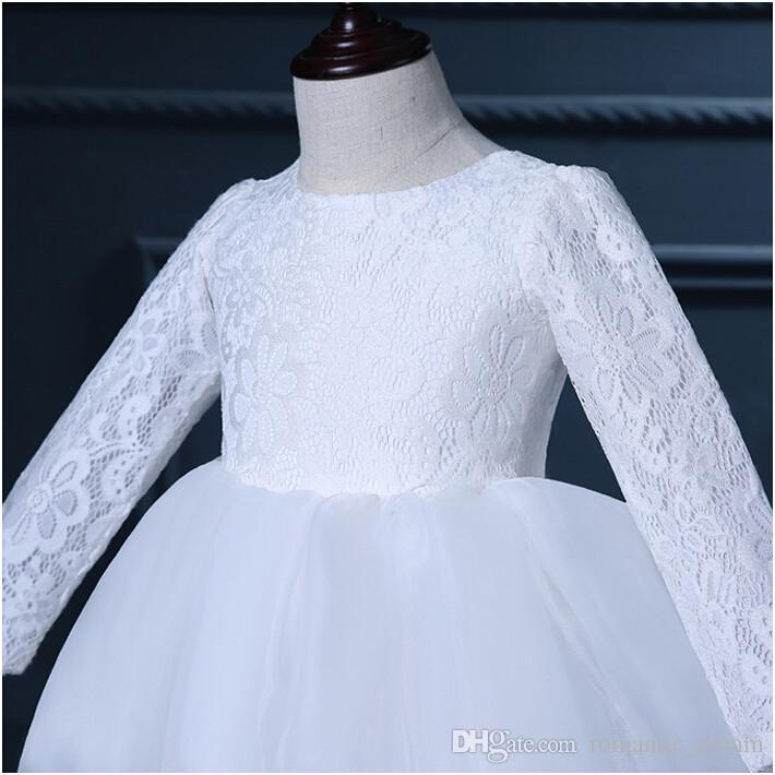 Mangas largas Vestidos de niña de flores Arco Vestido de fiesta de cuello alto Vestido de comunión para la boda Niñas Niños / Vestido de niños