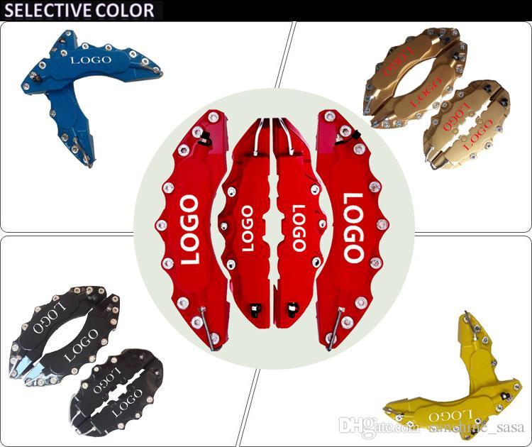 4 stücke Rot ABS Farben Universal Auto 3D Wort Stil Scheibenbremssattelabdeckungen Vorne Hinten Größe m + L Für Große SUV Highlander ETC rot blau