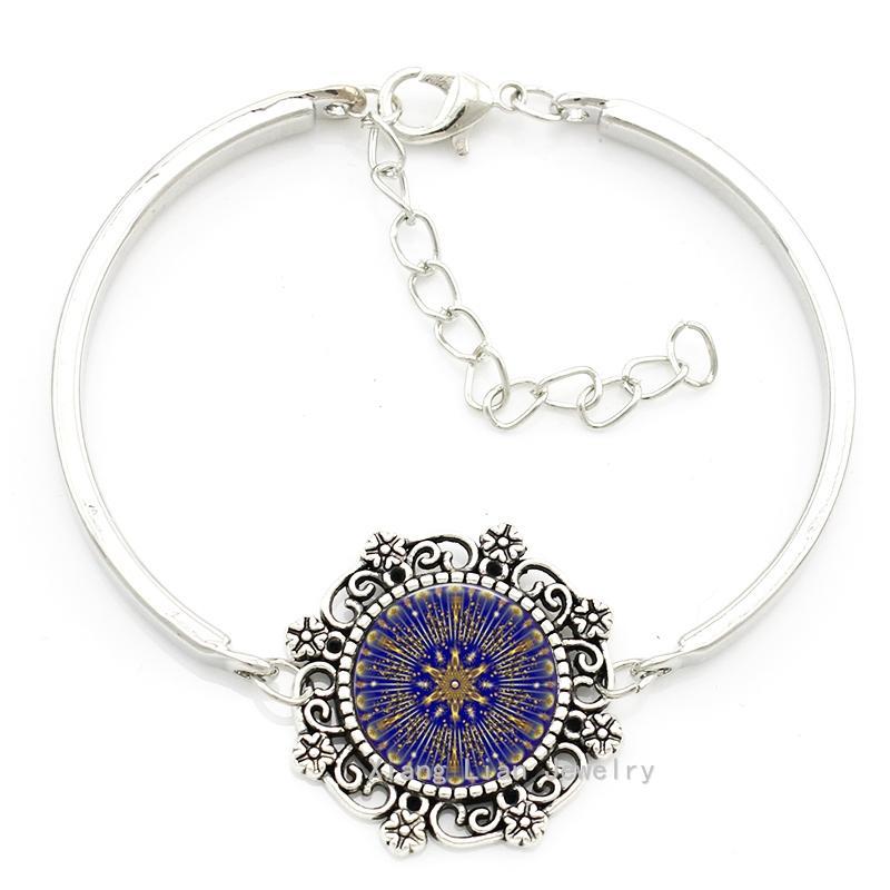 2016 fashion purple mandala art picture glass cabochon flower necklace earrings bracelet jewelry set for women girls kids HT164