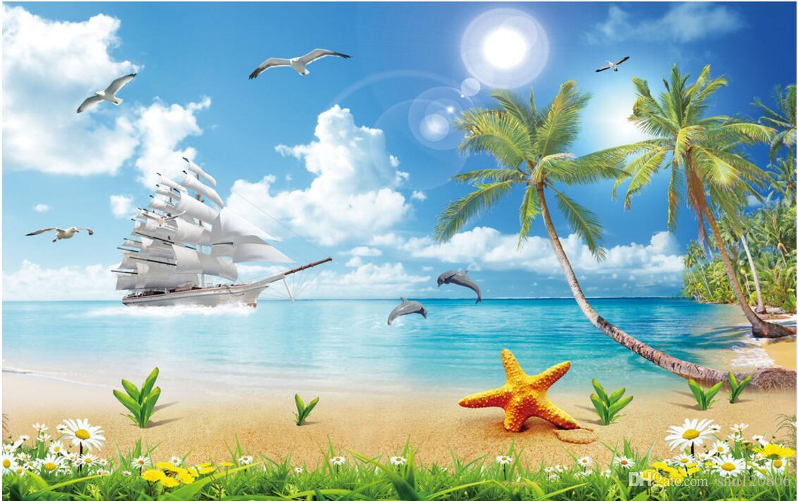 3d room wallpaper custom photo non-woven mural Sea coconut tree landscape decoration painting picture 3d wall murals wallpaper for walls 3 d