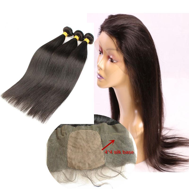 Peruvian Virgin Hair Bundles With 360 Silk Base Lace Frontal Closure Straight Unprocessed Human Hair Weaves Double Weft Extensions Natural